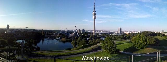 Výhled z Olympiabergu v Olympiaparku v srpnu 2013